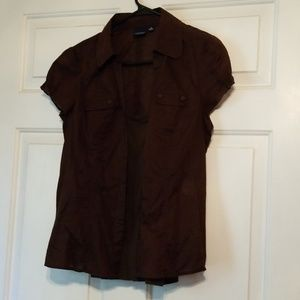 Brown Button Down and Cami Set